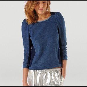 MAJE | 100% Cotton Puff Shoulders Long Sleeve Blue